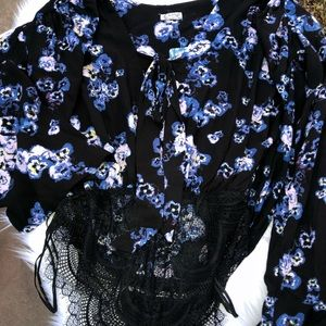 FP Floral  Bell Sleeved Body Suit w/Front Neck tie